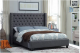 Grey Fabric Wing Queen Bed with Deep Button Tufting and Nailhead Details,IF-5897