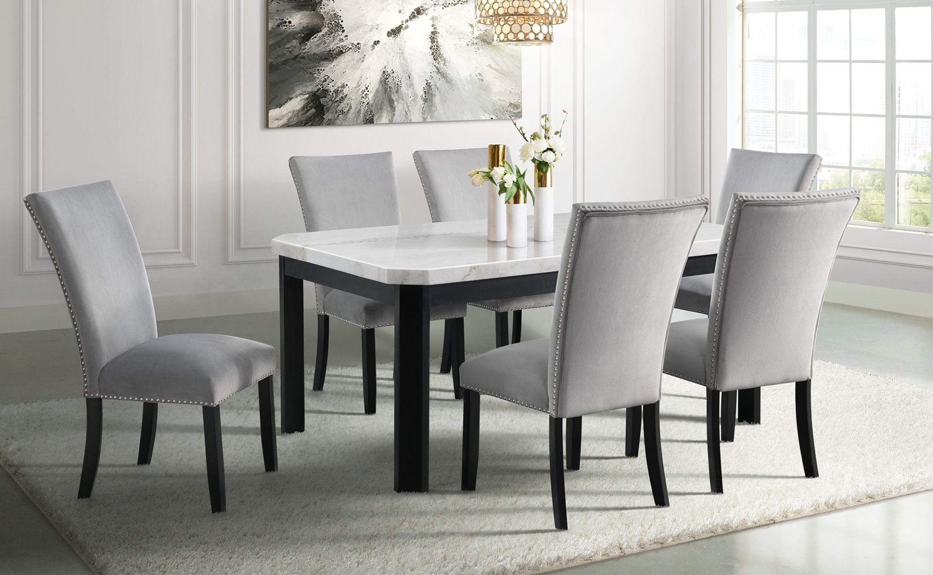 GL 9FR Marble Dining Set
