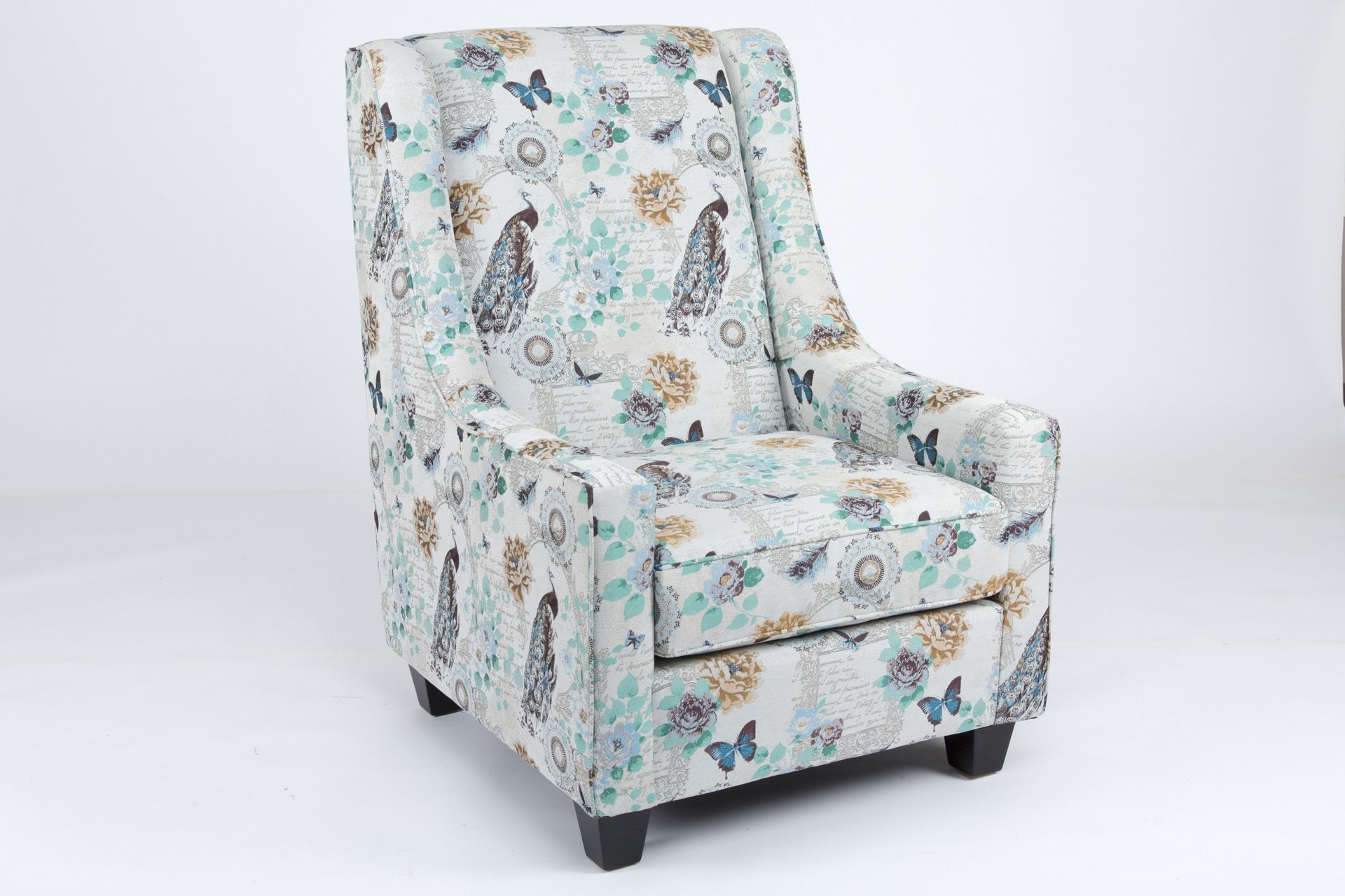 Canadian Made Printed Fabric 407 Upholstered Accent Chair