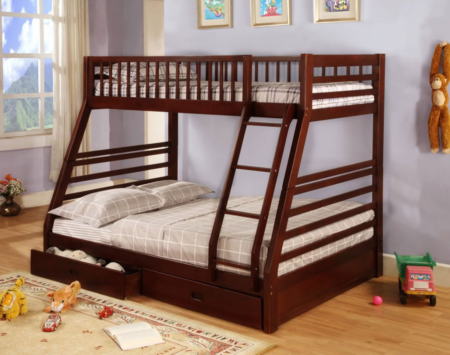 Picture of: B 117c Single Double Bunk Bed With Storage Drawers In Cherry