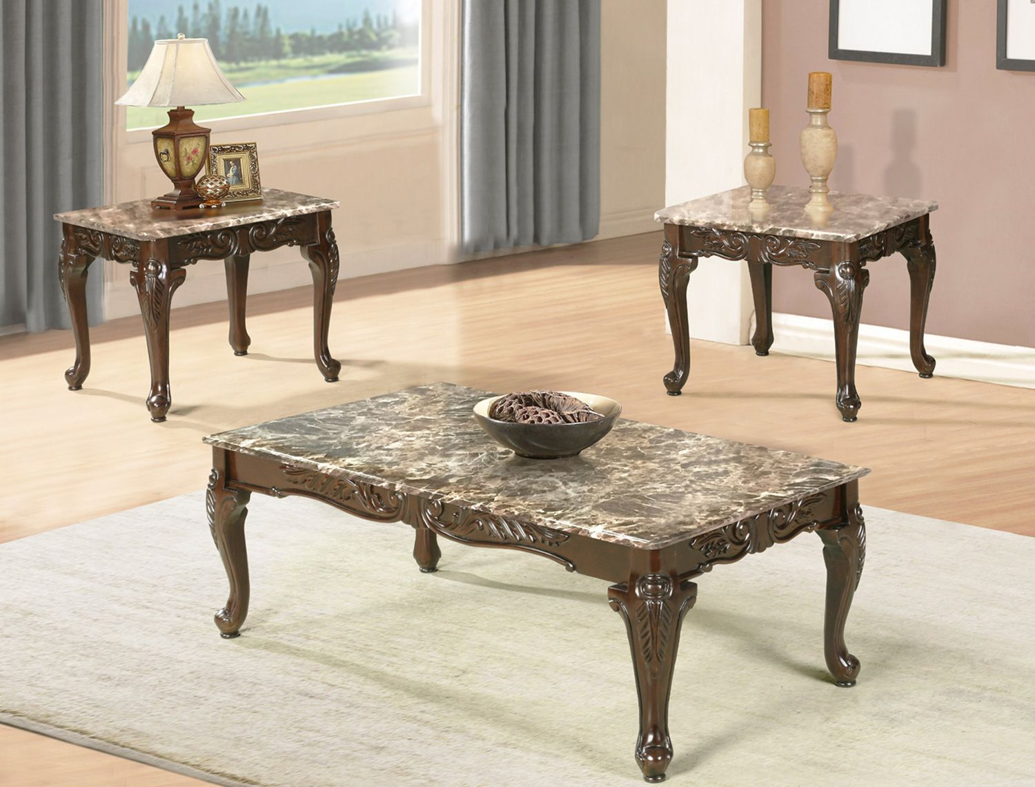 If 2070 3pc Marble Coffee Table Set With Carved Legs