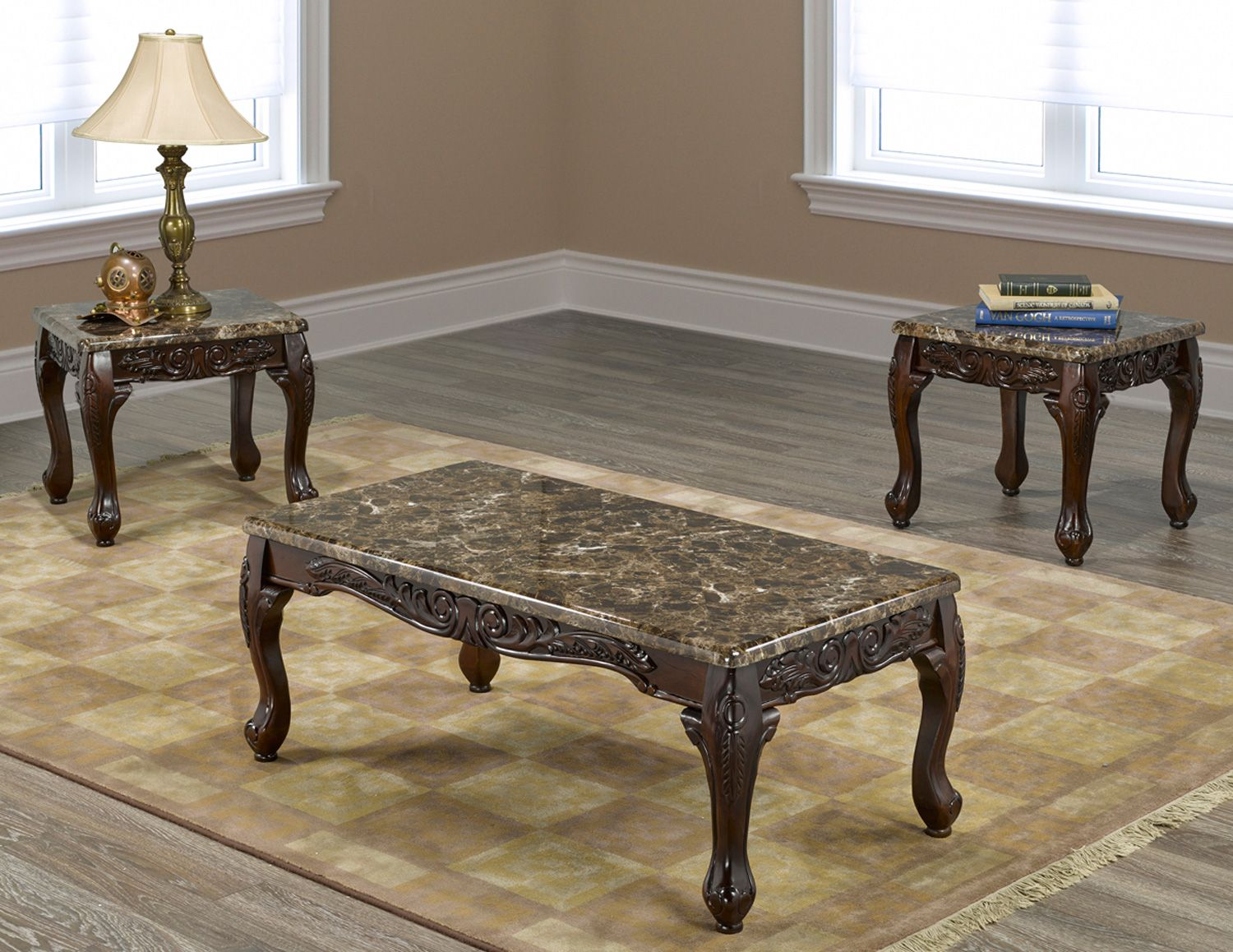 If 2071 3pc Marble Coffee Table Set With 2 End Tables And Carve