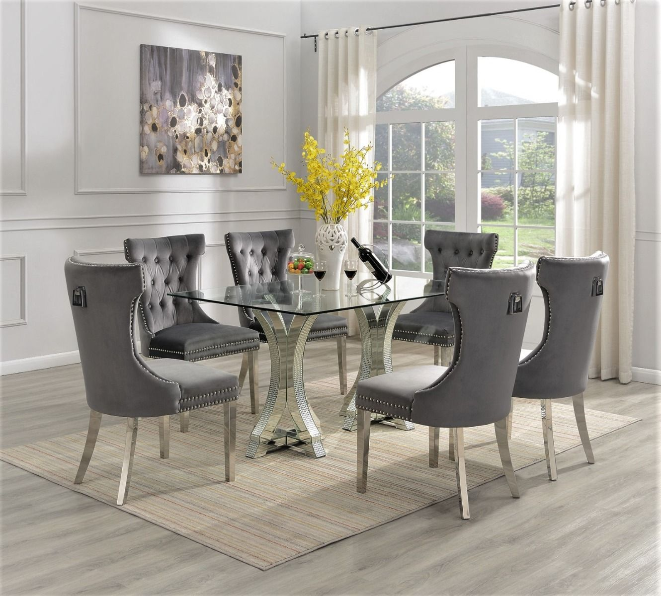 9 Pieces Tempered Glass Top Dinette Set Stone