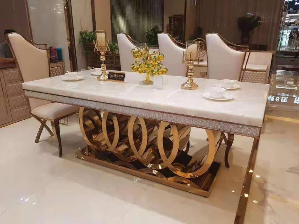 High End Real Marble Dining Set   Available with Black Chairs